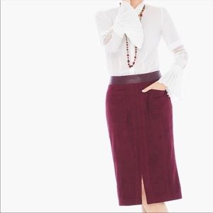 CHICO'S Red Wine Faux Suede Midi Skirt